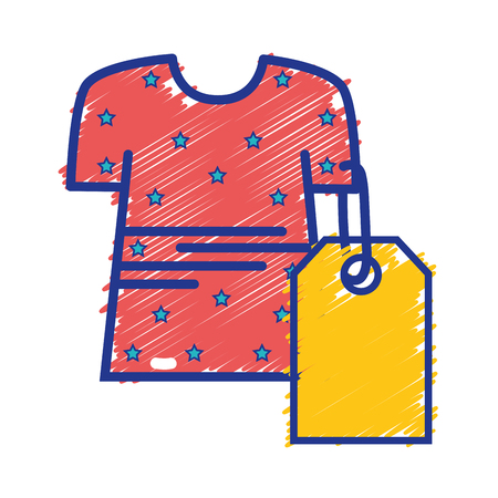 Clothes with tag to shopping new style vector illustration.