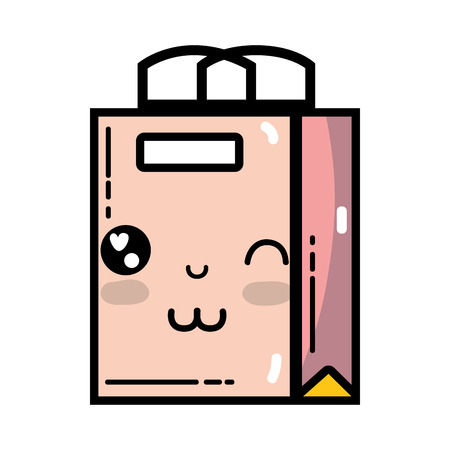 kawaii cute happy shopping bag Illustration