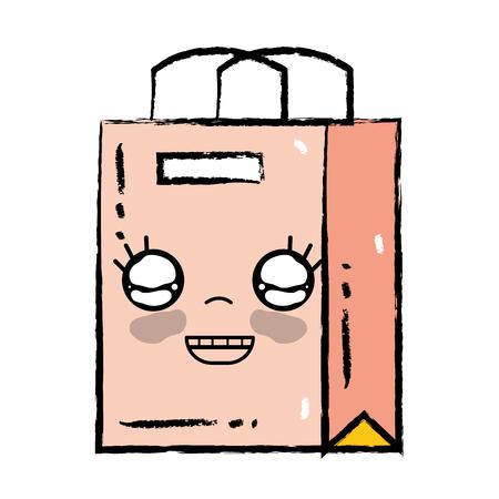 Cute happy shopping bag vector illustration.