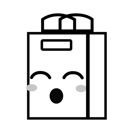 Line cute funny shopping bag vector illustration.