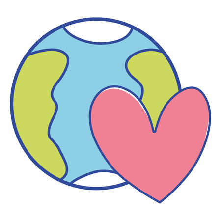 earth planet with heart symbol of love vector illustration