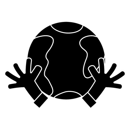 Contour Earth Planet With Hands And Peace Symbol Vector Illustration