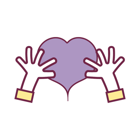 hands with heart to love symbol vector illustration design