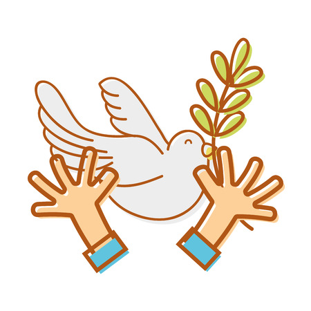 hands with dove animal and branch with leaves vector illustration
