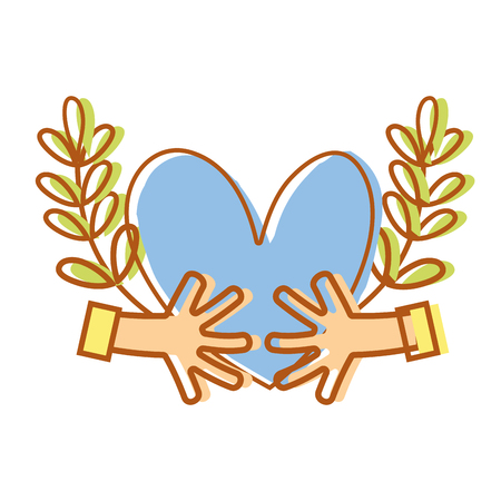 hands with heart and branches with leaves vector illustration Illustration