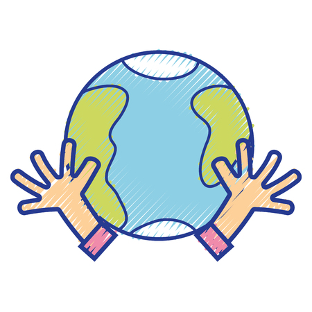 Earth Planet With Hands And Peace Symbol Vector Illustration Royalty