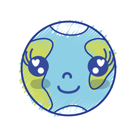 Kawaii linda tierra feliz planeta vector illustration Foto de archivo - 84663062