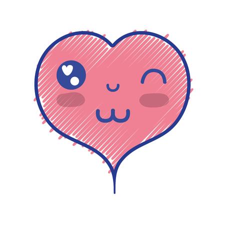kawaii cute happy heart design vector illustration