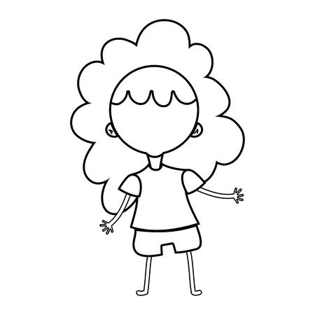 lijn schoonheid meisje met kleding en kapsel ontwerp vector illustratie