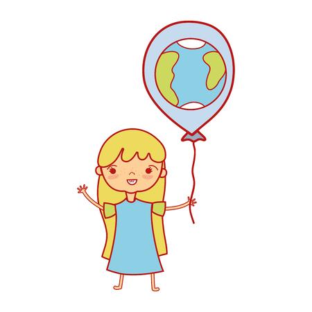 Chica de belleza con diseño de globos en la ilustración de vector de mano Foto de archivo - 84663267