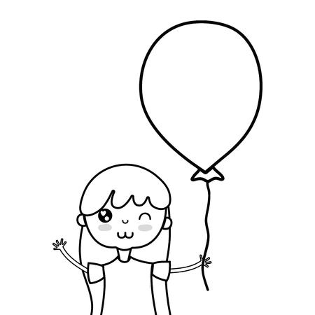 lijn schoonheid meisje met ballon ontwerp in de hand vector illustratie