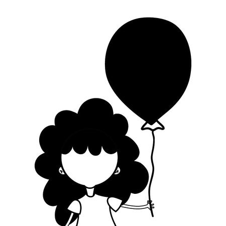 schoonheid meisje met ballon ontwerp in de hand vector illustratie