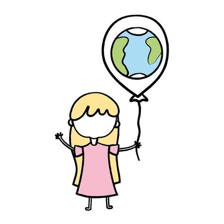 Chica de belleza con diseño de globos en la ilustración de vector de mano Foto de archivo - 84663297