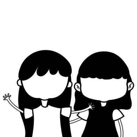 schoonheid meisjes met kleding en kapsel ontwerp vector illustratie Stock Illustratie