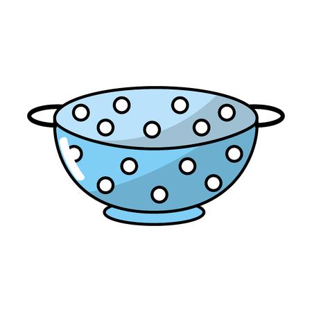 colander kitchen utensil object to cuisine vector illustration