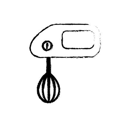 Figuur mixer technologie keuken gereedschap object vector illustratie