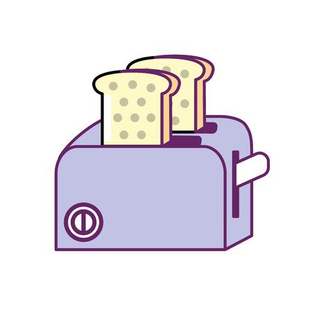 Toaster technology, kitchen utensil object vector illustration Illustration
