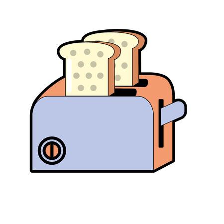 Toaster technology kitchen utensil object vector illustration Illustration
