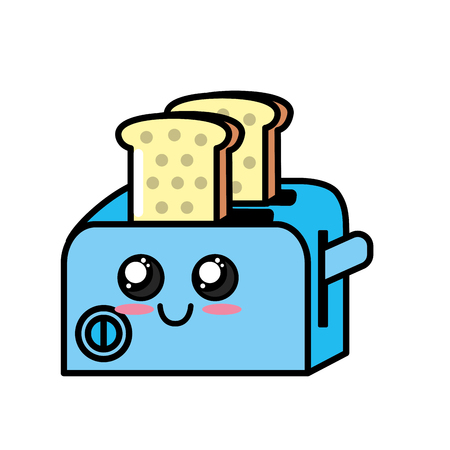 Cute happy toaster utensil vector illustration on white background.