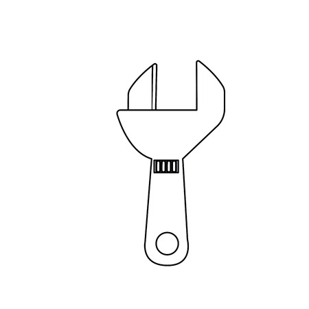 Line monkey wrench equipment service industry repair vector illustration.