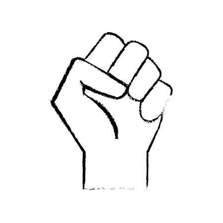 Figure hand tight with all fingers design Ilustração