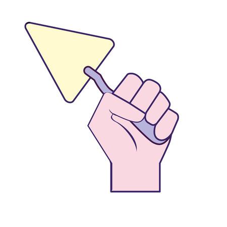 Triangular spatula equipment service industry repair in the hand