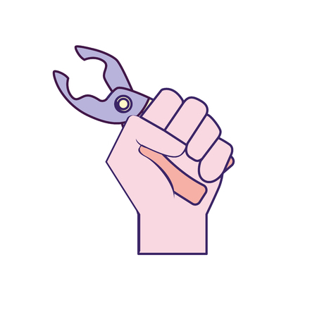Pincers equipment service industry repair in the hand vector illustration. Illustration