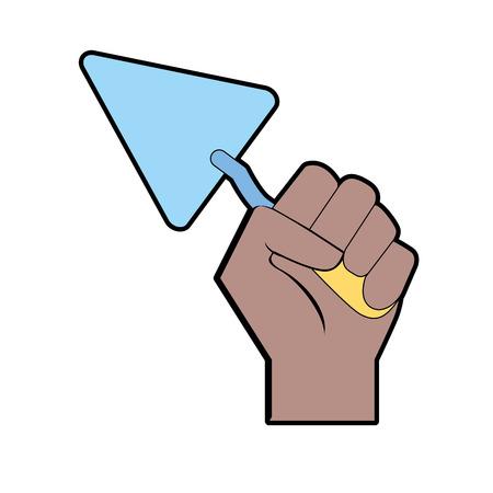 Triangular spatula equipment service industry repair in the hand vector illustration. Illustration