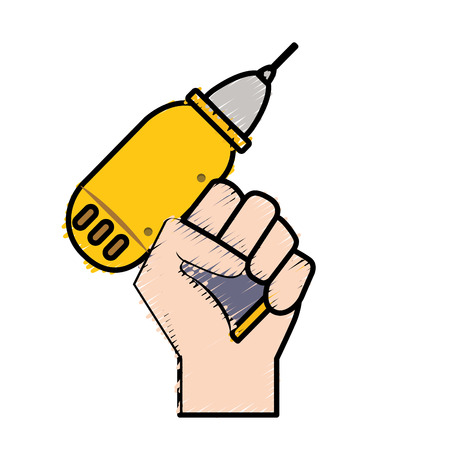 Drill equipment service industry repair in the hand vector illustration