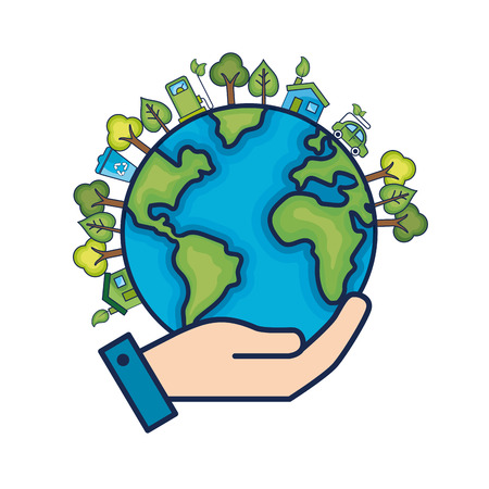 Ecology earth planet to environment care vector illustration Illustration