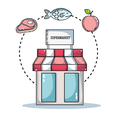 set supermarket variety food nutrition to shopping Illustration