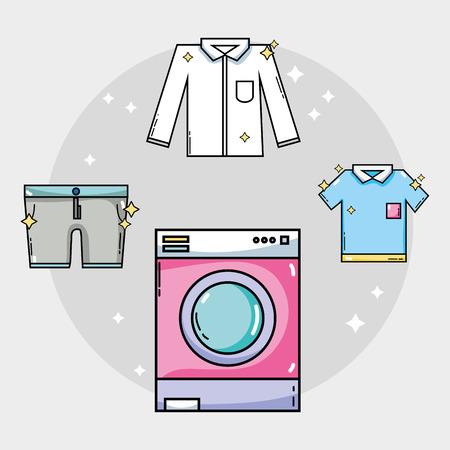 équipement de blanchisserie pour nettoyer les vêtements et l'illustration vectorielle pour le ménage