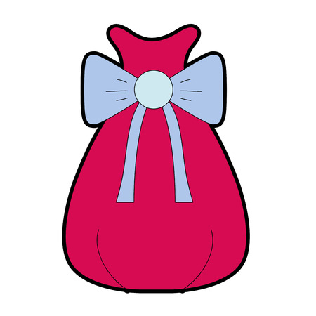 santa claus bag with robbon design vector illustration