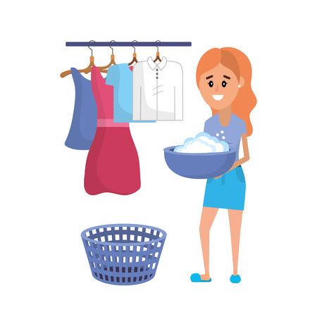 Équipement de blanchisserie et femme faisant une illustration vectorielle de travail domestique