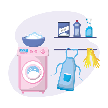 Laundry with electrical equipment and domestic job vector illustration Illustration