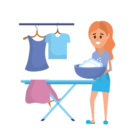Sprzęt pralni i kobieta robi krajowych ilustracji wektorowych pracy Ilustracje wektorowe
