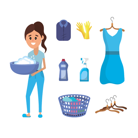 Laundry equipment and woman doing a domestic job vector illustration Illustration