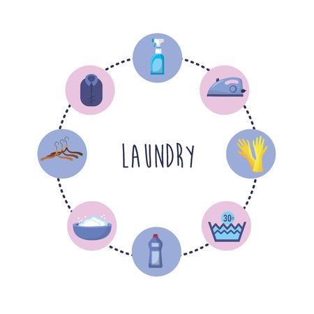 Set di attrezzature per la lavanderia in lavaggio illustrazione vettoriale di vestiti Archivio Fotografico - 85018023