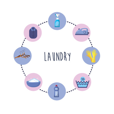 Set of laundry equipment in washing clothes vector illustration Illustration