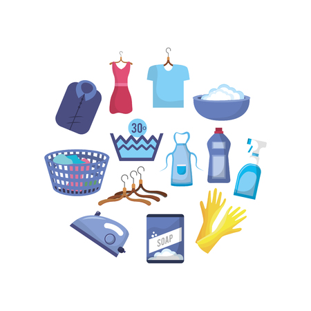 Set of laundry equipment in washing the clothes vector illustration