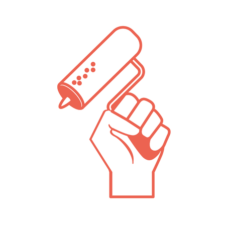 silhouette mallet equipment service industry repair in the hand Illustration