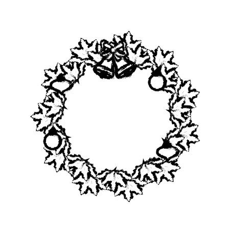 couronne couronne de noël guirlande avec noël design illustration vectorielle