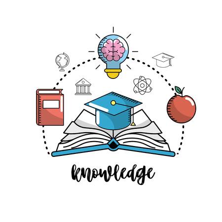 school utensils to education knowledge design vector illustration