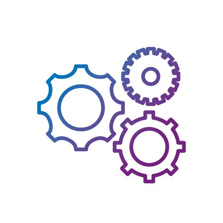Line gears engineering industry process technology vector illustration Illustration