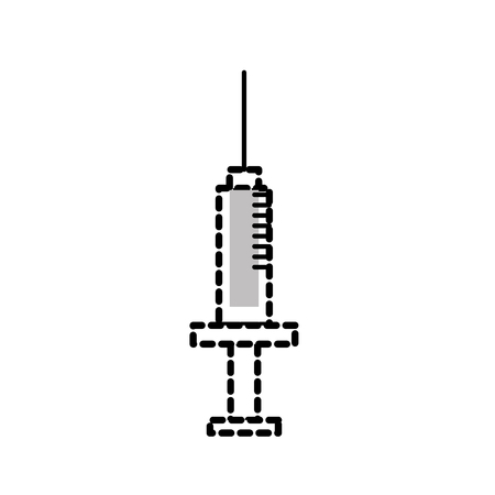 Dotted shape syringe medical tool to treatment injection vector illustration