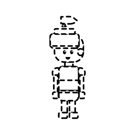 dotted shape warrior character to video game technology play Illustration