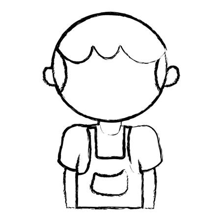 figuur schattige jongen met kleding en kapsel