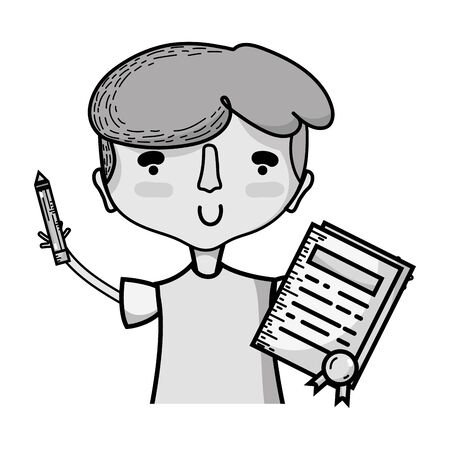grayscale boy with notebook and hairstyle design