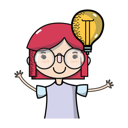girl with bulb idea and hairstyle design