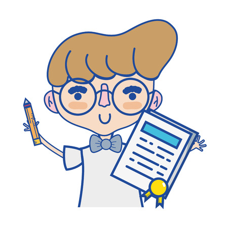 boy with notebook and hairstyle design Illustration